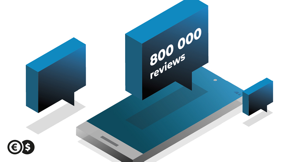 800 000 reviews