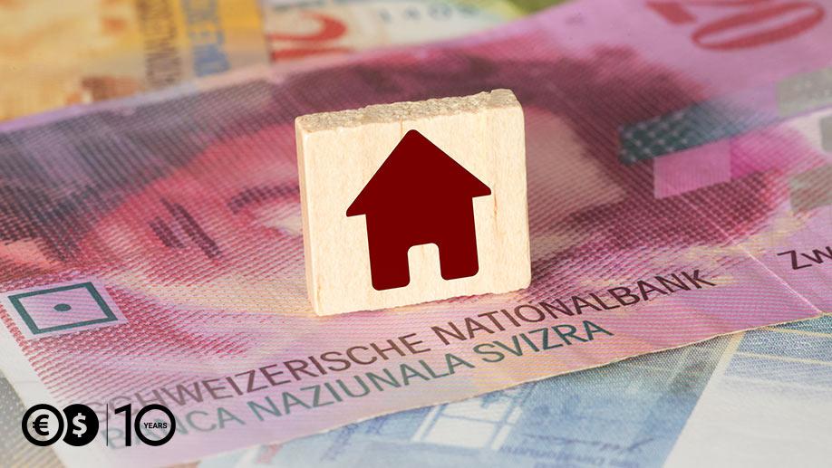 Banknot CHF, symbol domu