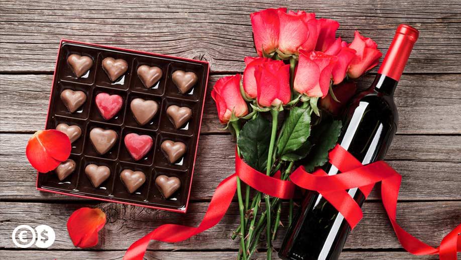 Prezent na Walentynki - wino, kwiaty i czekoladki