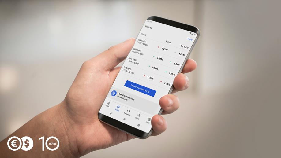 Kursy walut w aplikacji Cinckiarz.pl