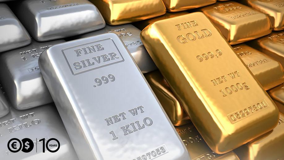 Sztabki srebra i złota