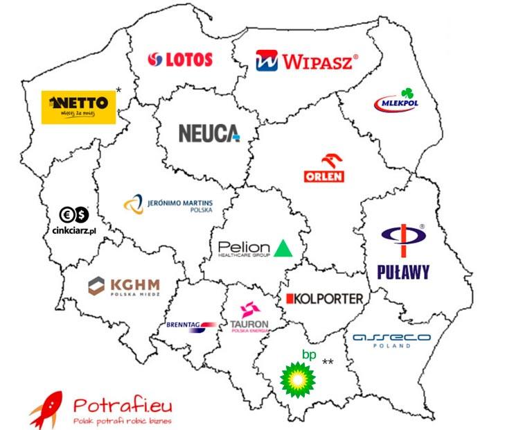 Największe polskie firmy w każdym województwie
